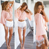 Sexy Women's Casual V-neck Crop Top Blouse