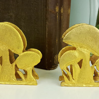 Set of 2 Bookends Mushrooms in Gold Tone , Whimsical Style Bookends, Whimsical Decor, Gold Home Decor, Mushroom Paperweights, Whimsy Chic