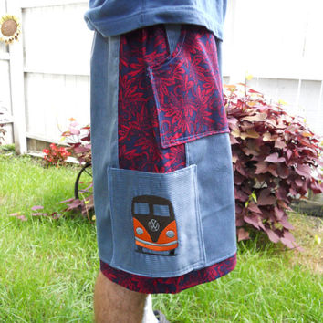 Mens Hippie Corduroy SHorts VW Bus Cargo Pocket Hippie Patchwork Straight Leg Shorts adjustable OOAK guys shorts