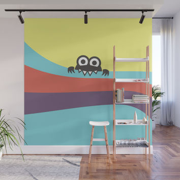 Yummy Colorful Stripes Cute Cartoon Character Wall Mural by borianagiormova