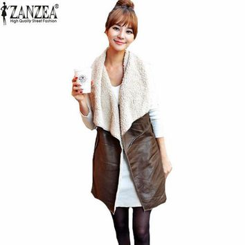 ONETOW Zanzea Autumn Winter 2016 Fashion Women Leisure Warm Faux Fur Collar Long Leather Waistcoat Coat Outerwear Vest Casual Jacket