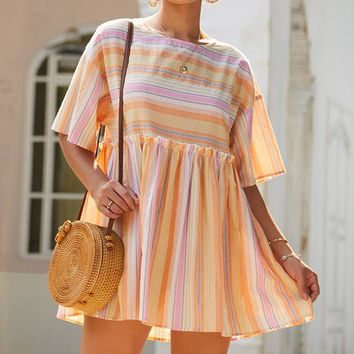 Summer Hot Sale Women Loose Sweet Stripe Short Sleeve Round Collar Dress Orange Yellow