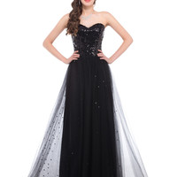 Grace Karin Black Long Formal Prom Dress