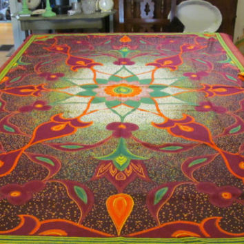 Bohemian Tablecloth Vintage African Textiles  Nairobi Kenya Tablecloth Kenya African Fabric Batik Tapestry Wallhanging