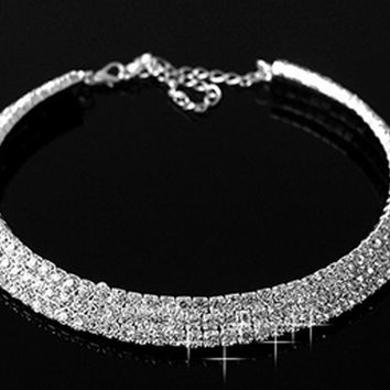 5 Styles Fashion Party And Wedding Jewelry Accessories Elegant Rhinestones Inlaid Collar Necklace