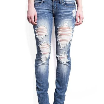 Machine Women's Juniors Low Rise Distressed Skinny Jeans