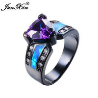 JUNXIN Fashion Jewelry Blue Fire Opal Ring Black Gold Purple Amethyst Ring Vintage Wedding Engagement Rings For Men And Women