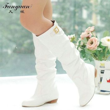 2017 Women Knee High Boots Vintage Low Thick Heel Spring Autumn Shoes Round Toe Less Platform Motorcycle Boots Big Size 34-43