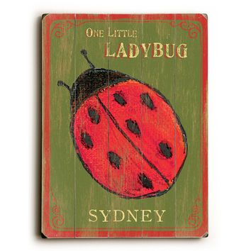 Personalized Kids Ladybug Wood Sign