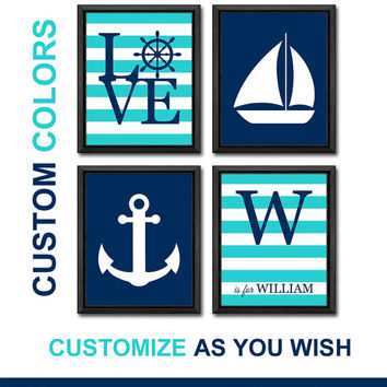 nautical love boy nursery art sail boat anchor nursery decor striped baby boys room initial nursery art steering wheel nursery gift ideas