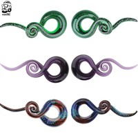 1 Pair  5-12mm Pyrex Glass Ear Spiral Taper Gauge 5-12mm Ear Plug Stretching Expander Piercing Glass Gauge Body Jewelry Pircing