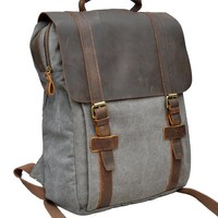 "Gootium 30520 Canvas Backpack For 15.6"" Laptop With Full Grain Leather Trim"