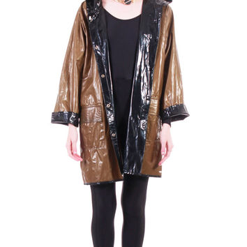 90s Vintage Reversible PVC Shiny Wet Look Rain Coat Black Gold Vinyl Jacket Minimalist Futuristic Club Goth Unisex Clothing Size Large XL