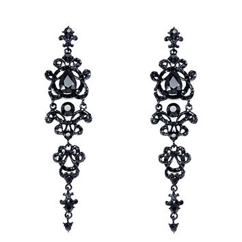 Vintage Black Long Earrings with Stones Rhinestones Long Chandelier Earrings Gothic Fashion Jewelry Earrings for Women