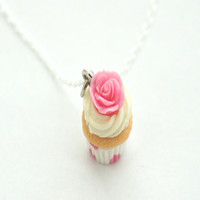 Vanilla Rose Cupcake Necklace