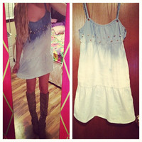 Studded Dip Dyed Ombre Denim Dress Size Small