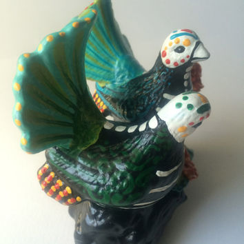 Dove birds Day of the Dead sculpture Dia de los Muertos figurine Pigeon Peacock love birds Hand painted birds feather tail blue and green