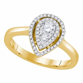 14kt Yellow Gold Womens Round Diamond Teardrop Frame Cluster Ring 3/8 Cttw
