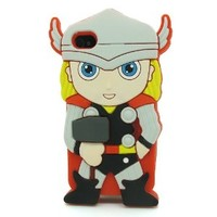 DD(TM) Style08 3D Cute Cartoon Super Hero Red Thor Soft Silicone Case Skin Protective Cover for Apple iPhone 5C with 3 in 1 Anti-dust Plug/LCD Cleaning Cloth/Cable Tie