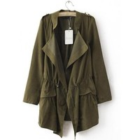 Green Slim Trench Coat Thin Drawstring Outerwear