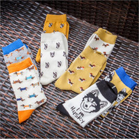 New Caramella Cute Women Color Animal Dog Pug Pattern Cotton Crew Socks Harajuku Funny Puppy Pet Art Brand White Yellow Japan