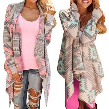2017 Women Long Cardigan Casual Blouse Long Sleeve Irregular Coats Jacket Pink Cardigan Geometric Printed Cotton Knitted Poncho