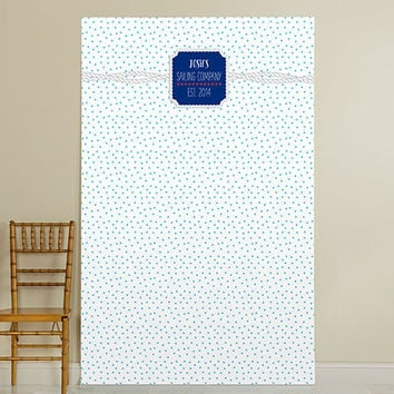 Personalized Photo Booth Backdrop - Kate's Nautical Birthday Collection - Dots