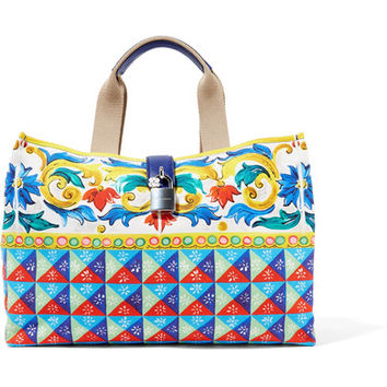 Dolce & Gabbana - Escape textured leather-trimmed printed canvas tote