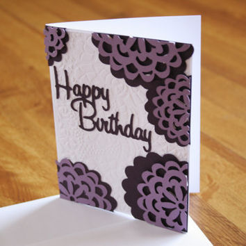 Happy birthday Card in purple and white with floral design, white envelope included