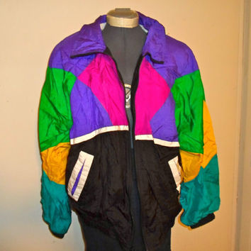 90s bright colorful windbreaker, 1990s pink green blue wind breaker jacket