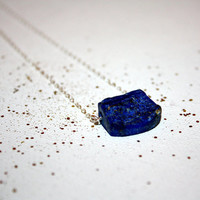 nocturna - lapis lazuli necklace by lilla stjarna - sterling silver - gifts under 25 - Rough Stone Necklace Blue Nugget Pendant Minimalist