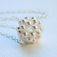 Pearl Necklace - Bead Ball -  Wedding, Bridal, Bride, Pearl, White, Ivory, Cream, Romantic Gift, Love, Mothers Gift, Sterling