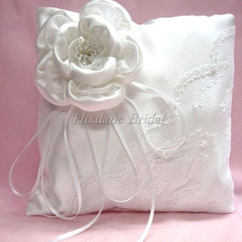 White Ring Pillow with Swarovski Crystals, White square ring pillow