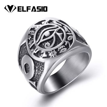 Men Stainless Steel Rings Egyptian Eye of Horus Cross of Life Ankh Text Symbol Vintage Jewelry