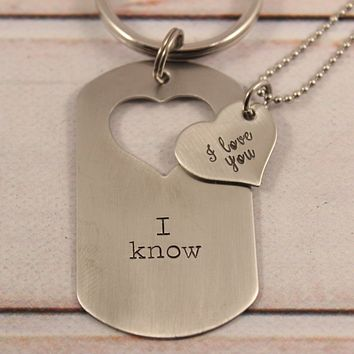"""""""I love you"""" """"I know"""" - Dog Tag with heart cut out & Heart set"""