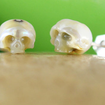 Carved Pearl Skull Stud Earrings with Sterling Silver Backs - Skull Earrings - Skull Jewelry - Unique Earrings - Gifts for Him Gifts for Her