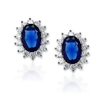 Bling Jewelry Oval Simulated Sapphire CZ Stud Earrings Sterling Silver