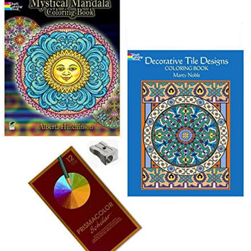 Mandala Coloring Books For Adults Prismacolor Pencils 2 Books Metal Sharpener 4 Piece Bundle (Tile Designs & Mandalas)
