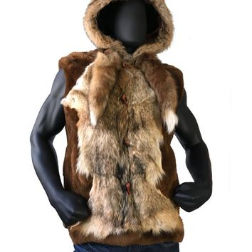 Mouton Sheepskin Vest With Hood And Real Fox Fur Style #6500 MENS