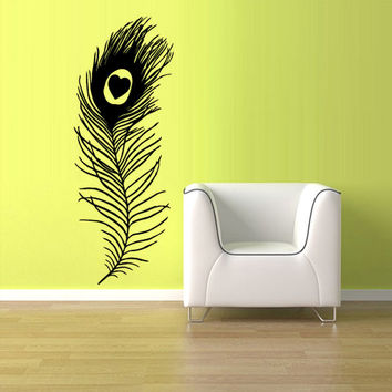 rvz1208 Wall Vinyl Sticker Feather Decal Peacock Feather Bird