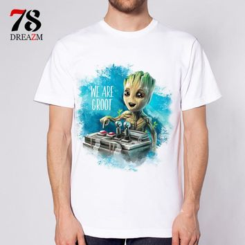 Guardians of the Galaxy 2 movie Anime baby groot new fashion 2017 mens t shirt T-shirt male top funny Tshirt white tops tees