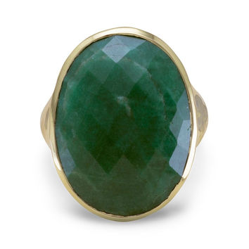 "Oval ""Emerald"" Ring Hammered in 14 Karat Gold Plated Sterling Silver"