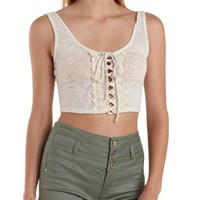 Oatmeal Crochet-Trim Lace-Up Crop Top by Charlotte Russe