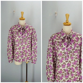 70s Floral Blouse Ascot Tie Roses Silky Blouse extra large