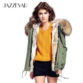 ESBONRZ JAZZEVAR Fashion woman army green Large raccoon fur collar hooded coat parkas outwear detachable rabbit fur lining winter jacket