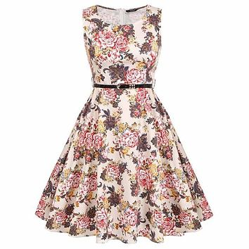 Floral Swing Summer Dress with Gold and Red Roses