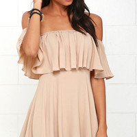 Young and in Love Beige Off-the-Shoulder Dress