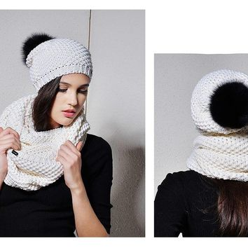 Woman Knitted Beanie Hat and Infinity Scarf Set Real Fox Fur Pom Pom Multiple Colors