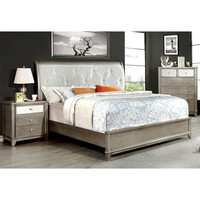 Furniture of America Divonne Modern 2-Piece Crocodile Silver Bed and Nightstand Set | Overstock.com Shopping - The Best Deals on Bedroom Sets