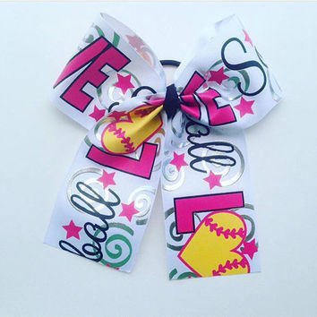 Softball-Mom-Fastpitch-Slow pitch-Hair-Lover-Accessories-Bow-Handmade-Girls-Team-Cheer-Gifts for Her